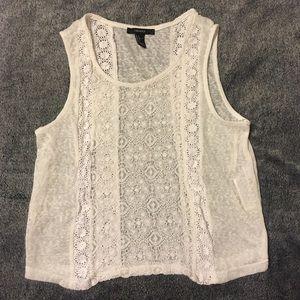 Forever 21 White Crochet Tank